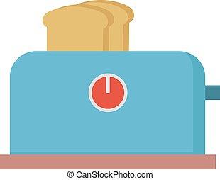 Blue toaster, illustration, vector on white background.