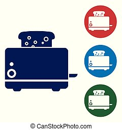 Blue Toaster with toasts icon isolated on white background. Set color icon in circle buttons. Vector Illustration