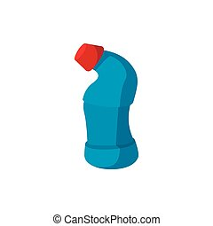 Blue toilet cleaner bottle with red cap icon
