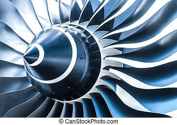 jet engine - blue tone jet engine blades closeup