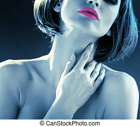 Blue tone picture of the sensual lady - Blue tone picture of...