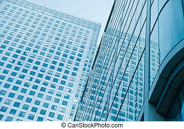 Blue toned Business concept financial district modern...