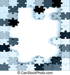 blue toned parts of a puzzle on a white background