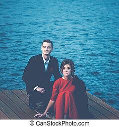 Blue Toned Portrait Of A Couple