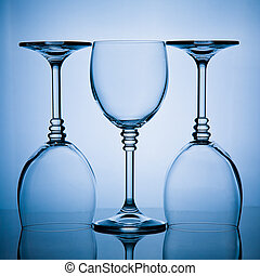 three wineglasses in a row