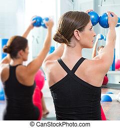 blue toning ball in women pilates class rear view - Pilates...