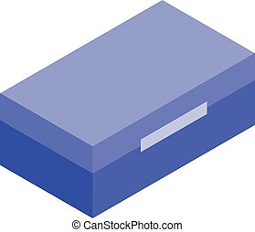 Blue tool box icon, isometric style
