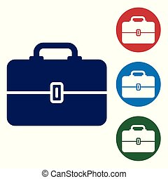 Blue Toolbox icon isolated on white background. Tool box sign. Set color icon in circle buttons. Vector Illustration
