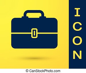 Blue Toolbox icon isolated on yellow background. Tool box sign. Vector Illustration