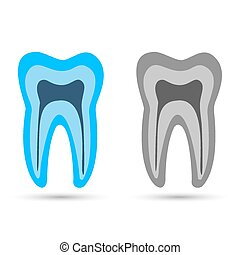 blue tooth. Simple icon with long shadow on a white background.