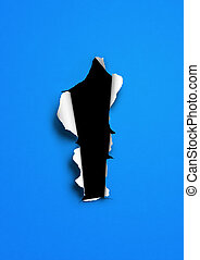 Blue torn paper with black hole