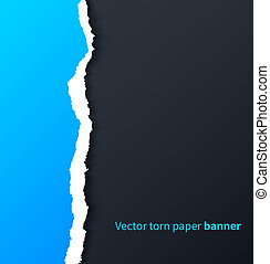 Blue torn paper with drop shadows on dark background