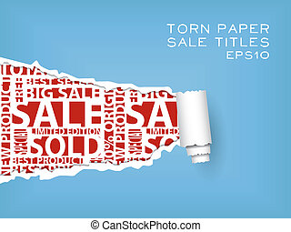 blue torn paper with red sale titles
