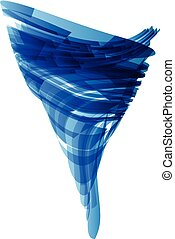 Blue tornado in technology style on white, vector