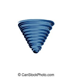 Blue tornado set icon, watercolor icon.