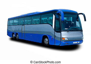 Blue Tour Bus Isolated on White