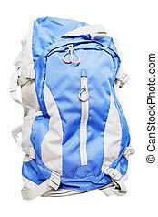 Blue tourist rucksack under the light background
