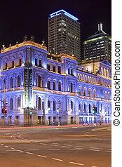 blue tourist site brisbane portrait 1 - old building glowing...