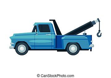 Blue Tow Truck, Evacuation Car, Road Assistance Service Flat Vector Illustration