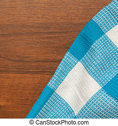 blue towel on a wooden background