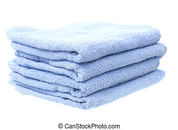 Blue Towels Isolated on White Background