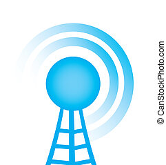 tower with radio - blue tower with radio close up over white...