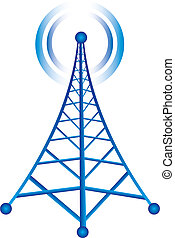 tower with radio - blue tower with radio isolated over white...