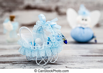 Blue Toy Baby Carriage Prepared as a Gift for Baby Shower
