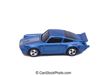 Blue toy car isolated on white background