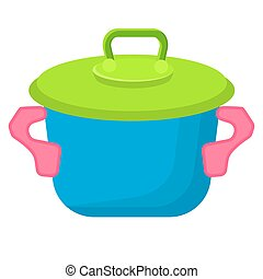 Blue Toy Saucepan with Green Top Illustration
