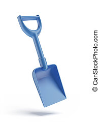 Blue toy spade isolated on a white background