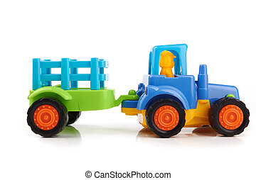 tractor - Blue toy tractor on a white background