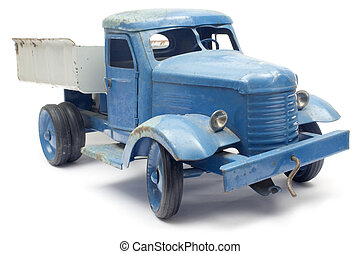 Blue Toy Truck - Worn toy isolated on white.