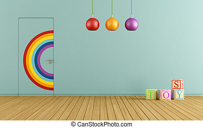 Blue toys room - Colorful doors flush with the wall in a...