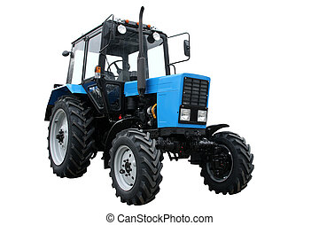 Blue tractor separately on a white background