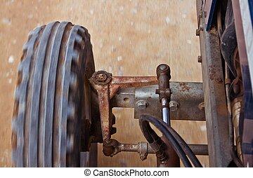Blue tractor wheel