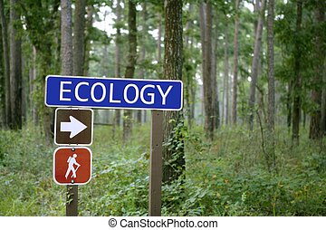 Blue traffic sign with ecology message in the green forest