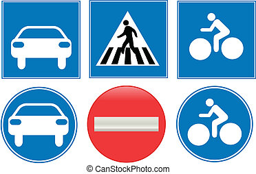 blue traffic signs collection