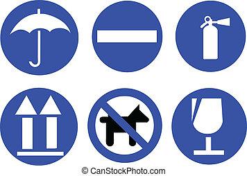 blue traffic signs