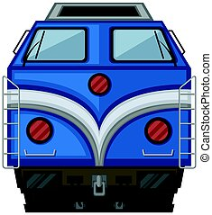 Blue train design on white background