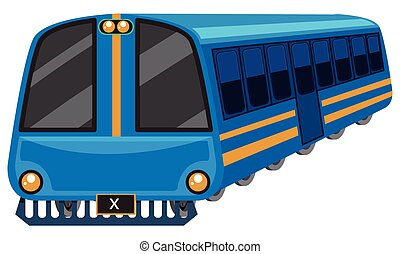 Blue train on white background