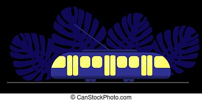 Blue tram with yellow windows at night against the backdrop of Monstera leaves. Dark background and public eco transport.