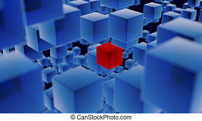 Blue Translucent Cubes with One Red Cube Background