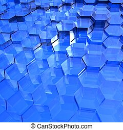Blue Translucent Hexagons - Translucent blue hexagon...