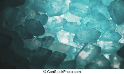 Blue translucent mineral close-up shot - Blue crystals close...