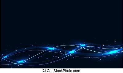 Blue transparent abstract shining magical cosmic magical energy lines, rays with highlights and dots and light shines on waves on a blue background from below. Vector illustration.