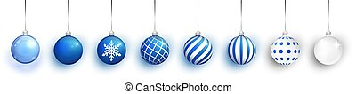 Blue Transparent and Christmas ball with snow effect set. Xmas glass ball on white background. Holiday decoration template. Blue christmas balls isolated