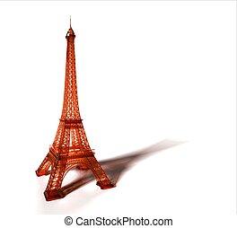 Blue transparent Eiffel Tower 3D