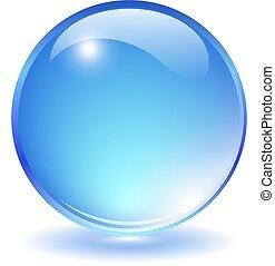 Blue transparent glass ball on white background