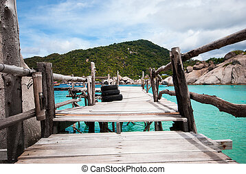 Blue Transparent Sea with wooden bridges
